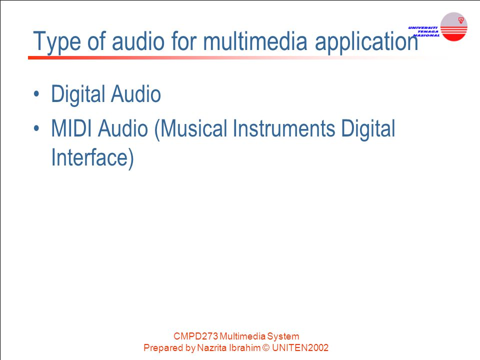 Type of audio for multimedia application
