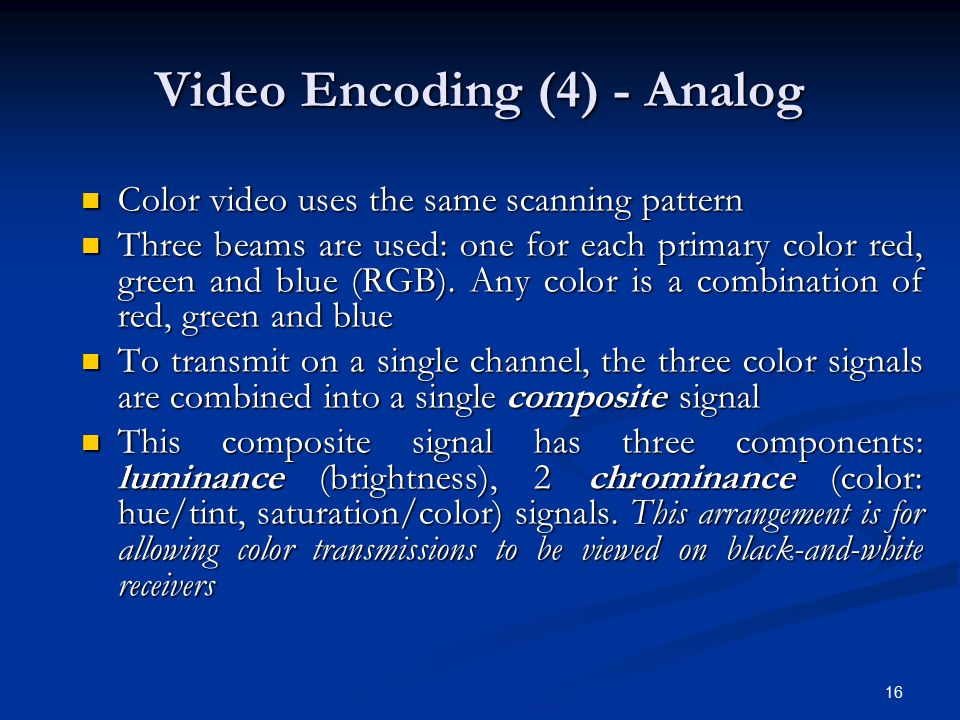 Video Encoding (4) - Analog