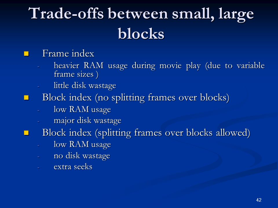 Trade-offs between small, large blocks