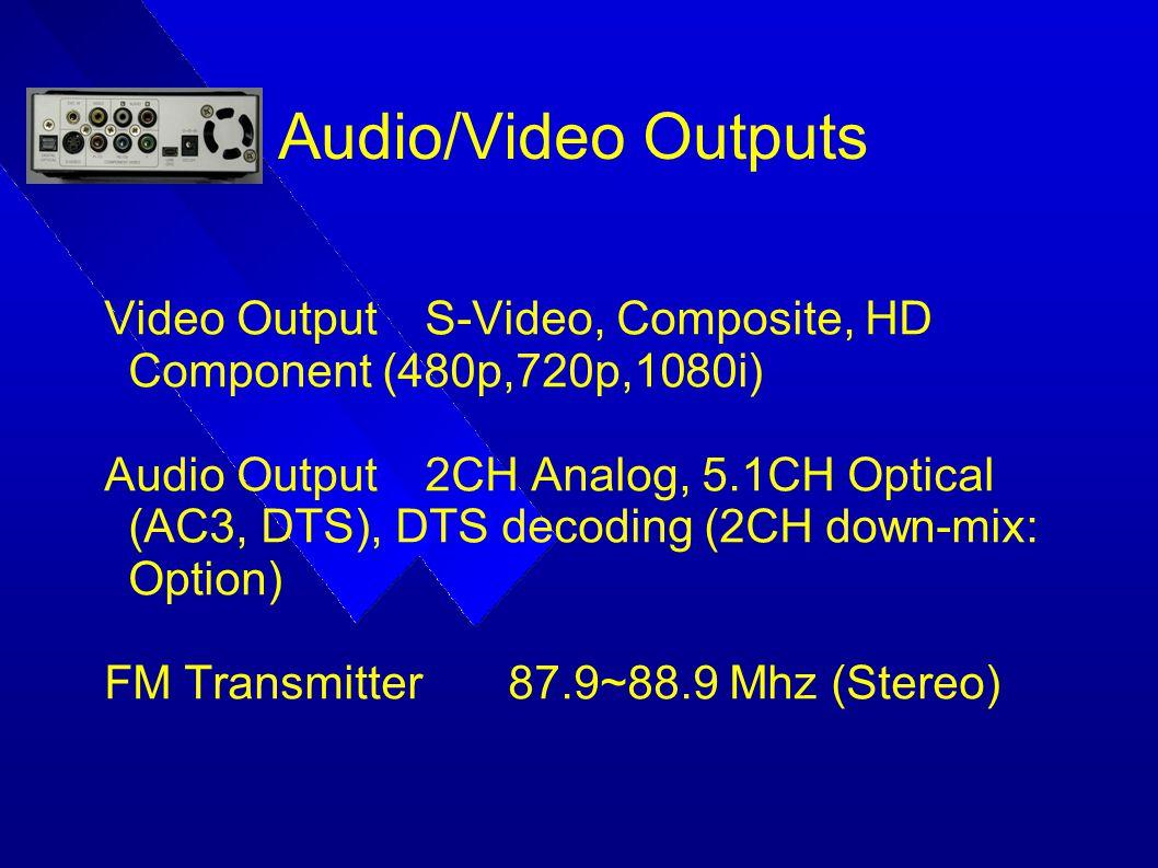 Audio/Video Outputs Video Output S-Video, Composite, HD Component (480p,720p,1080i)