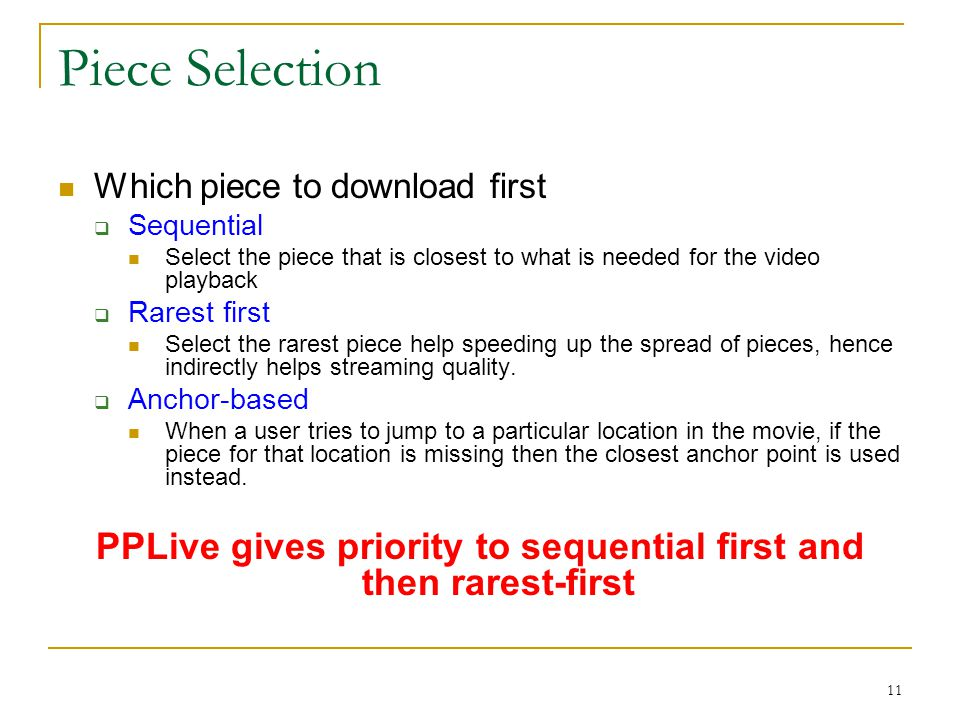 PPLive gives priority to sequential first and then rarest-first