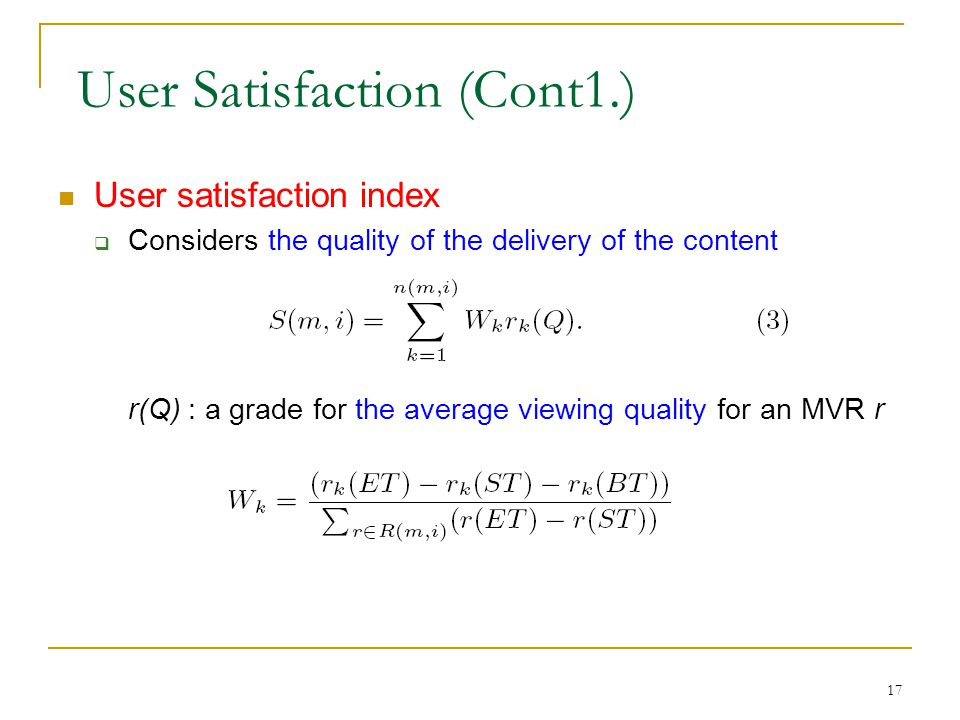 User Satisfaction (Cont1.)