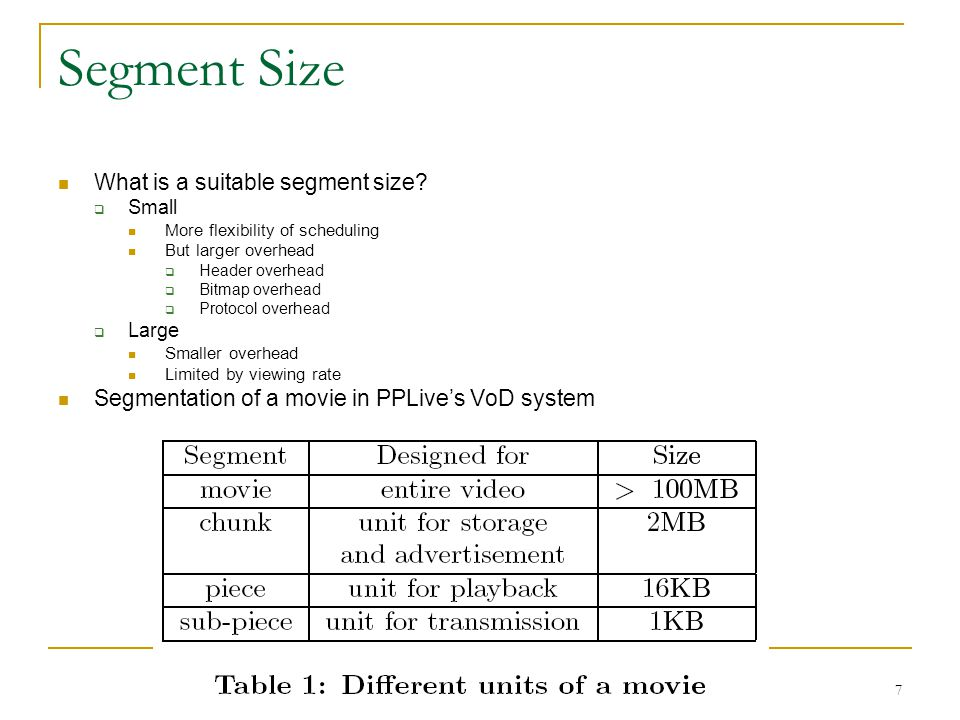 Segment Size What is a suitable segment size