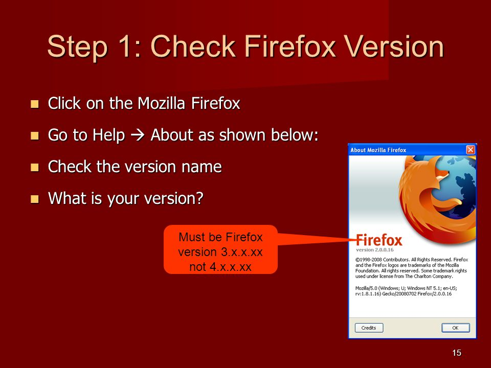 Step 1: Check Firefox Version