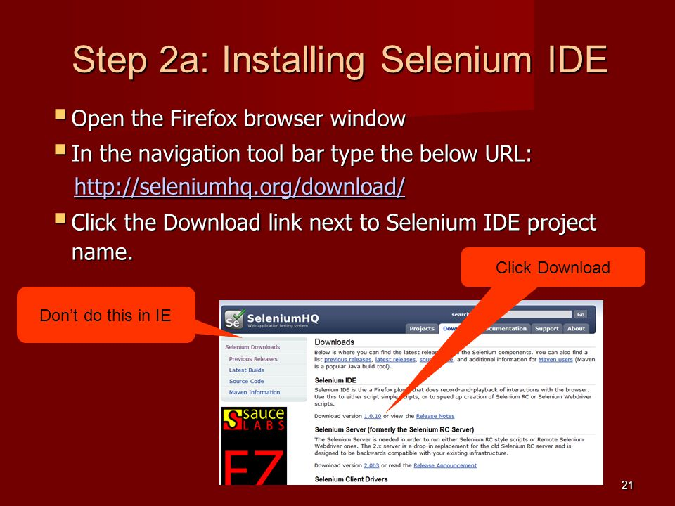 Step 2a: Installing Selenium IDE