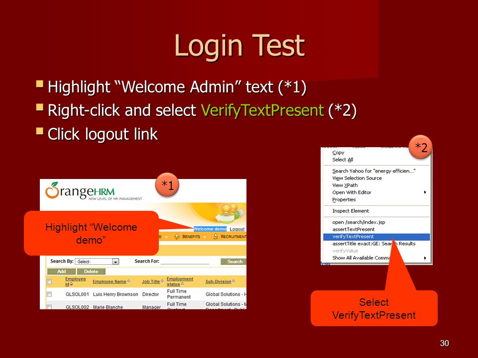 Login Test Highlight Welcome Admin text (*1)
