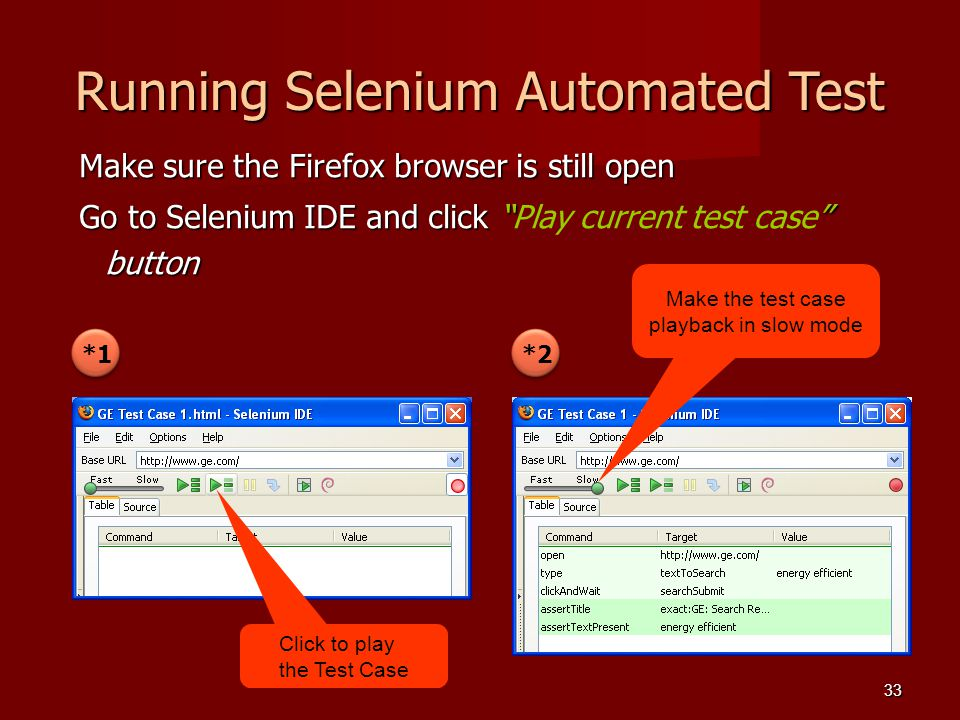 Running Selenium Automated Test