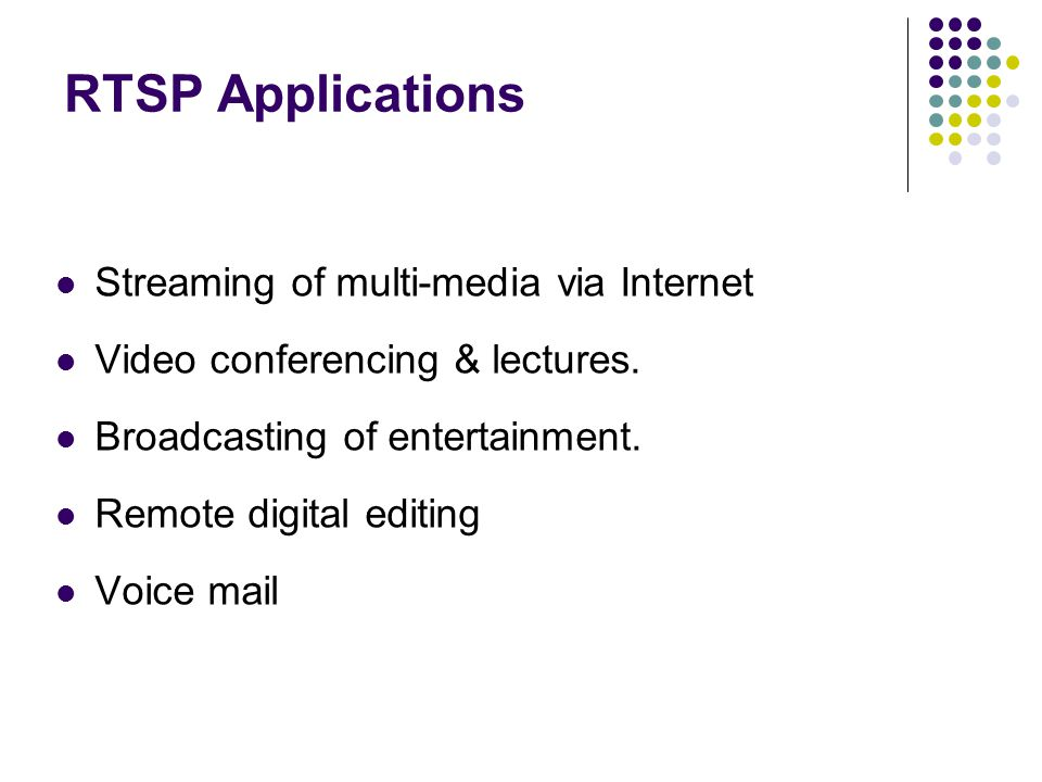 RTSP Applications Streaming of multi-media via Internet