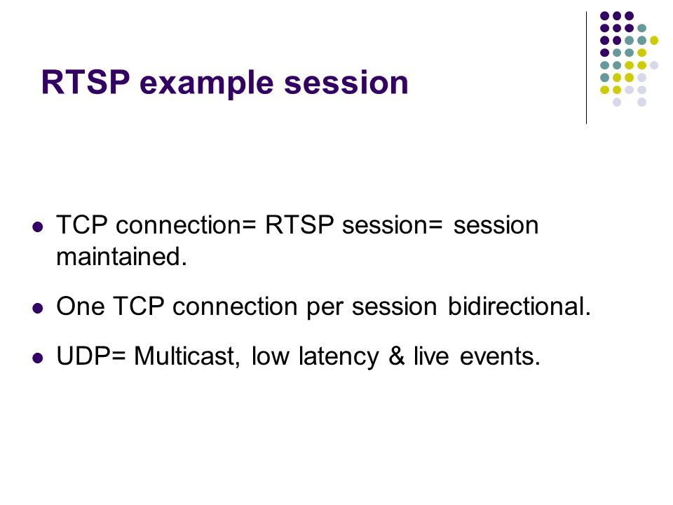 RTSP example session TCP connection= RTSP session= session maintained.