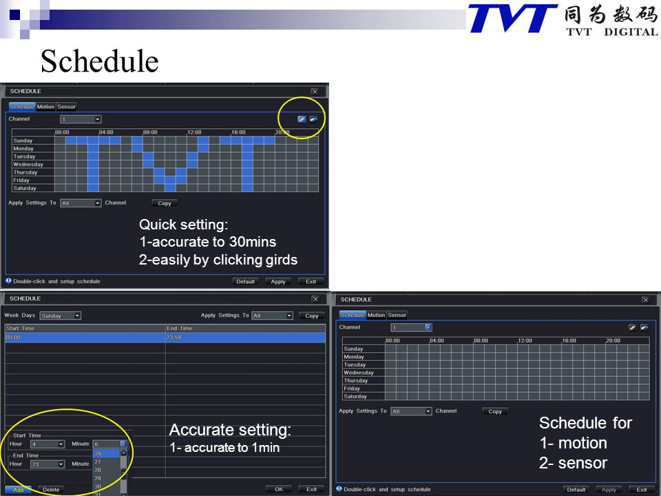 Schedule Schedule for Accurate setting: 1- motion 2- sensor