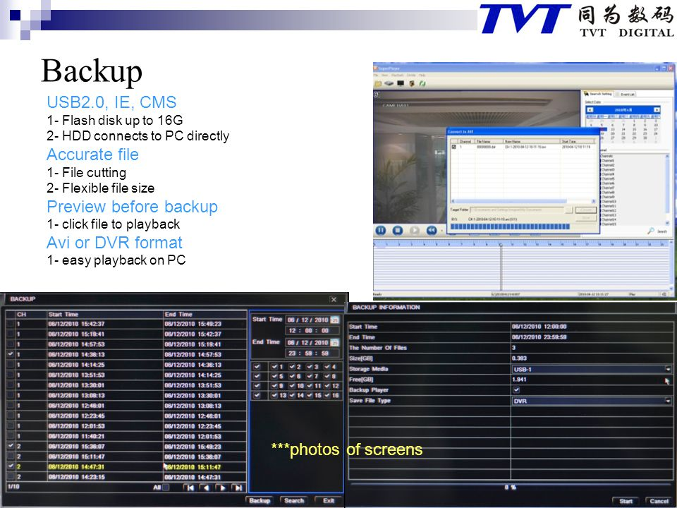 Backup USB2.0, IE, CMS Accurate file Preview before backup