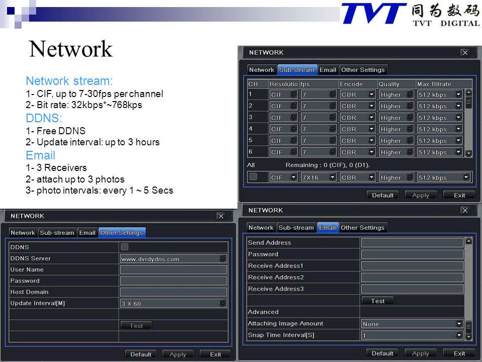 Network Network stream: DDNS:  1- CIF, up to 7-30fps per channel