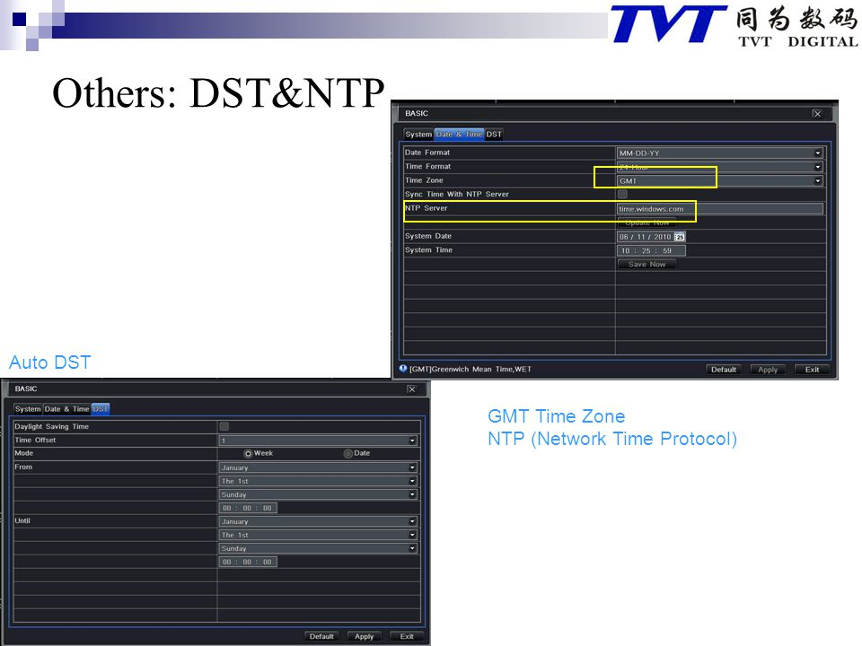 Others: DST&NTP Auto DST GMT Time Zone NTP (Network Time Protocol)