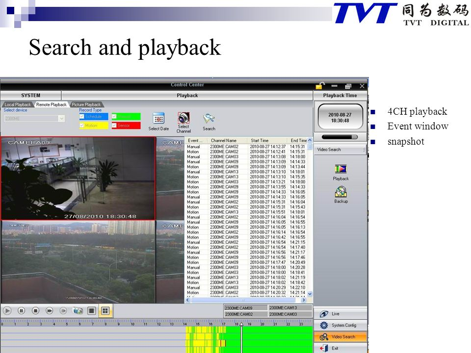 Search and playback 4CH playback Event window snapshot