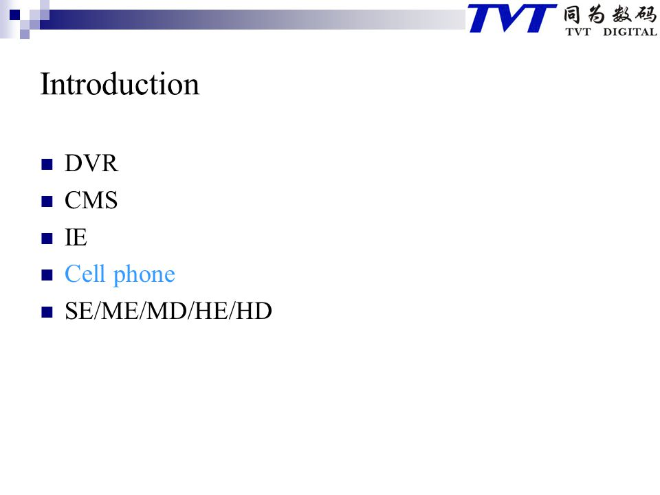 Introduction DVR CMS IE Cell phone SE/ME/MD/HE/HD