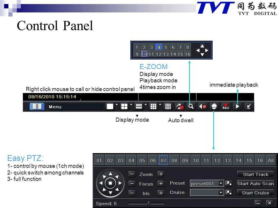 Control Panel Easy PTZ: E-ZOOM Display mode Playback mode