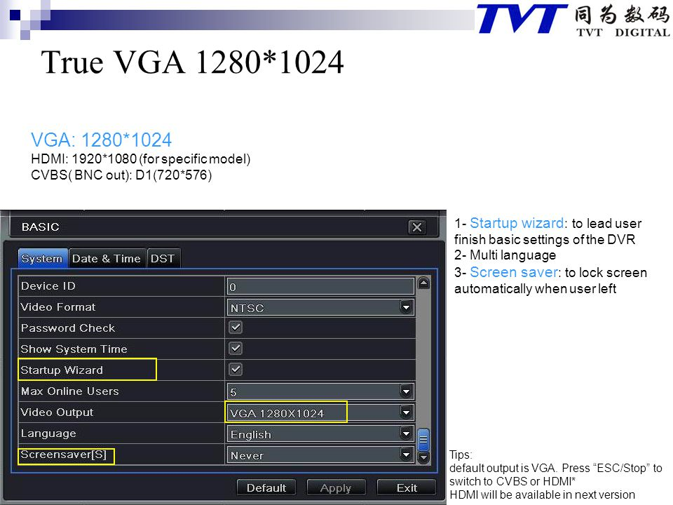 True VGA 1280*1024 VGA: 1280*1024 HDMI: 1920*1080 (for specific model)