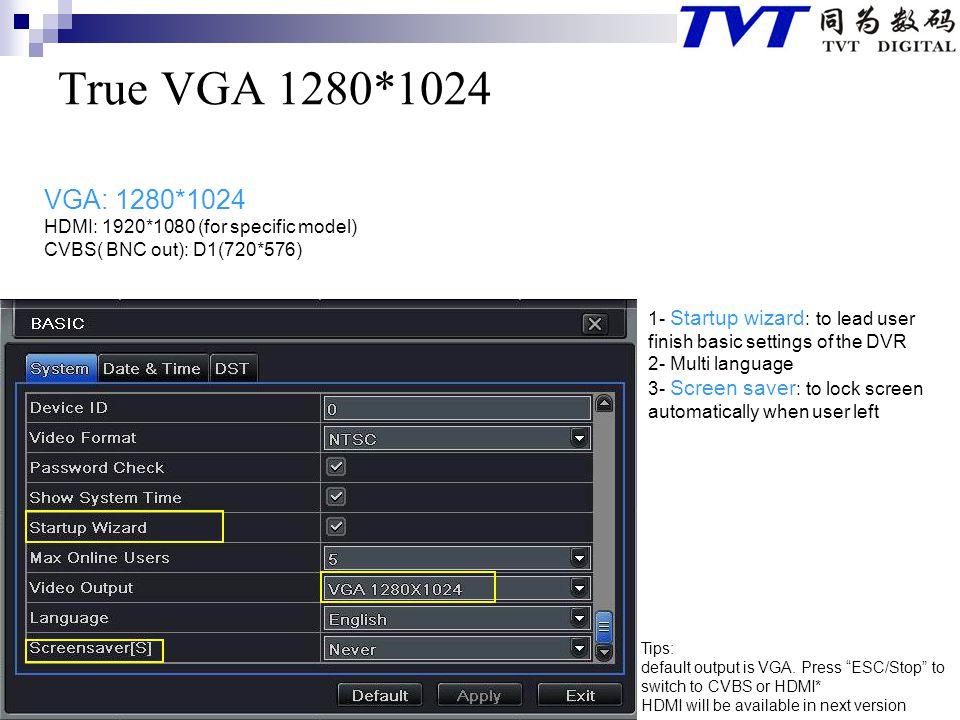 True VGA 1280*1024 VGA: 1280*1024 HDMI: 1920*1080 (for specific model)