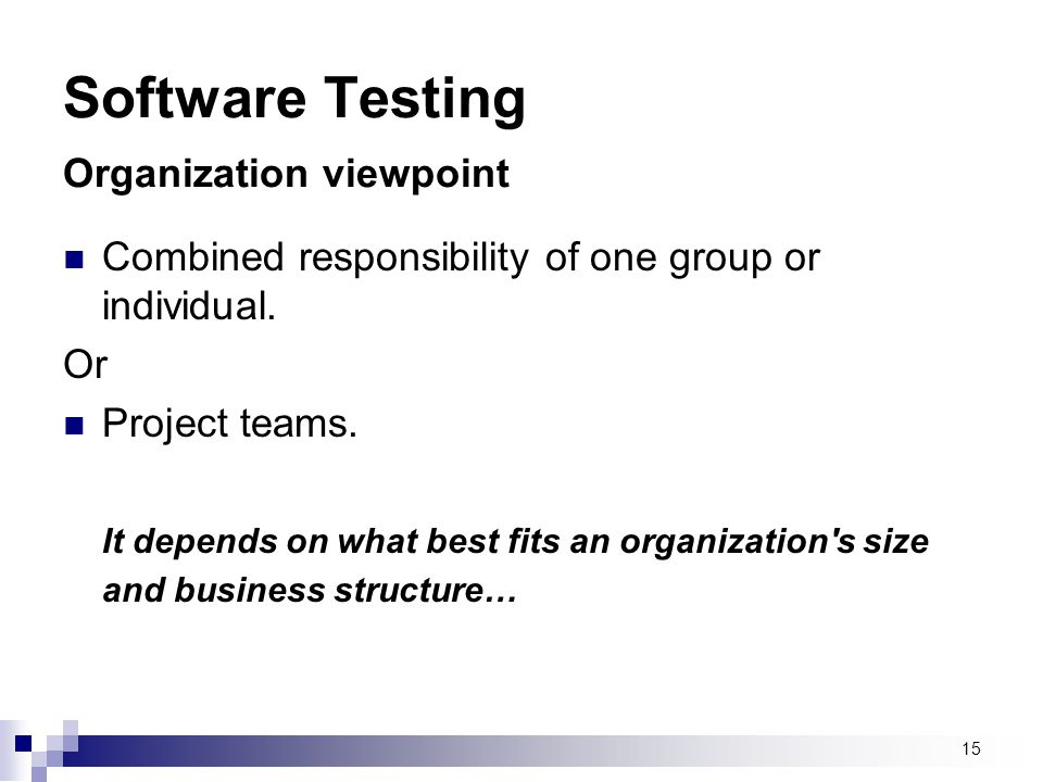 Software Testing Organization viewpoint