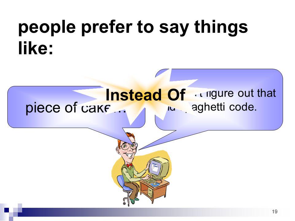 people prefer to say things like: