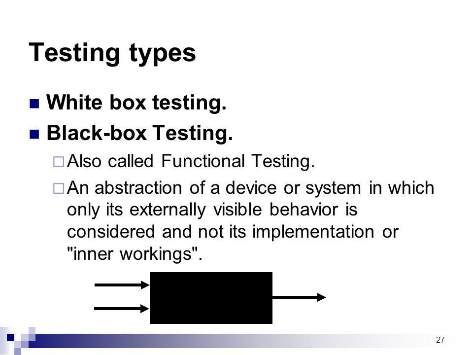 Testing types White box testing. Black-box Testing.