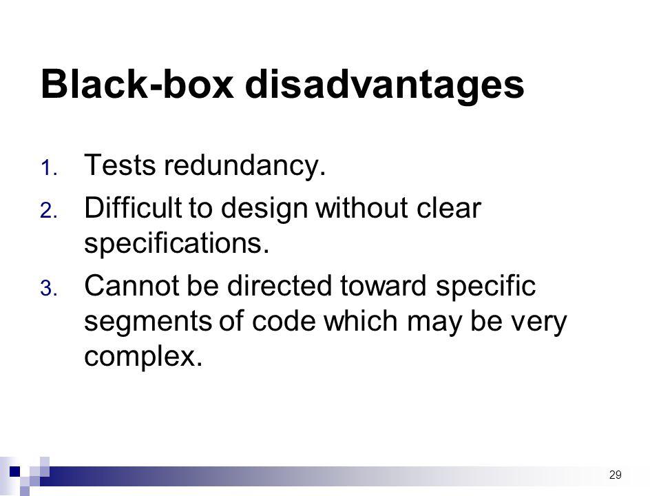 Black-box disadvantages