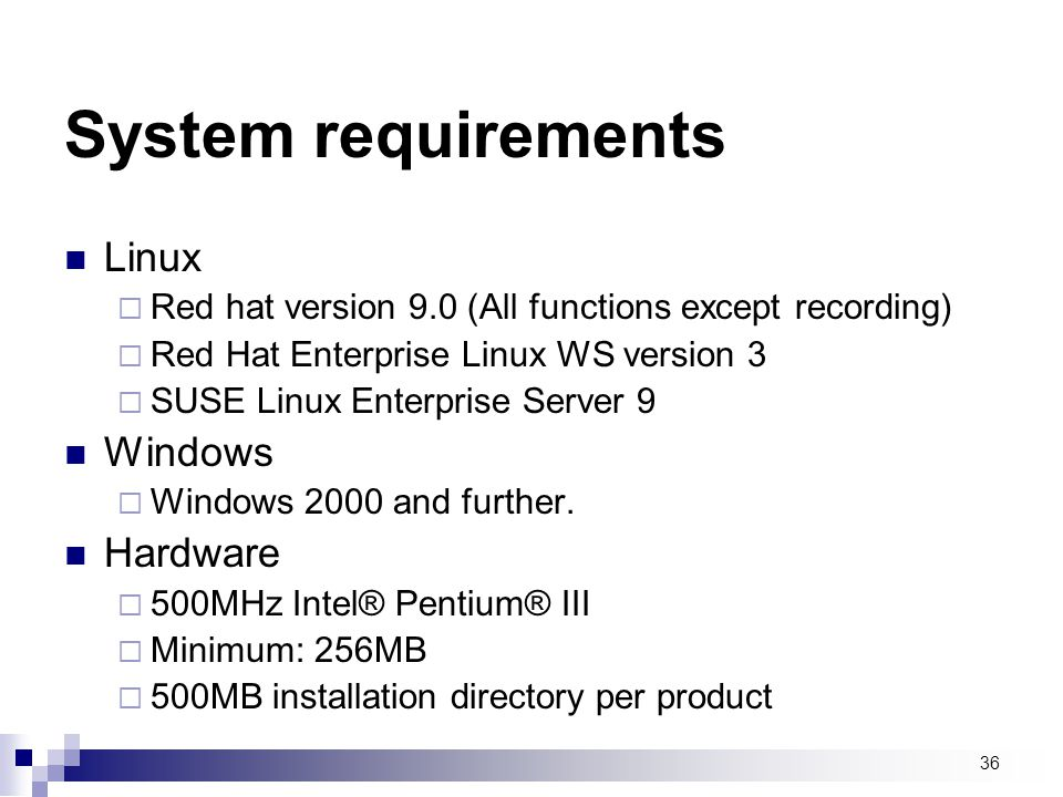 System requirements Linux Windows Hardware