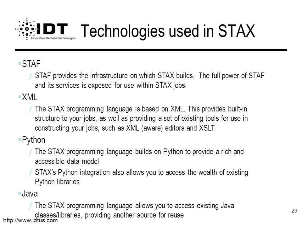 Technologies used in STAX