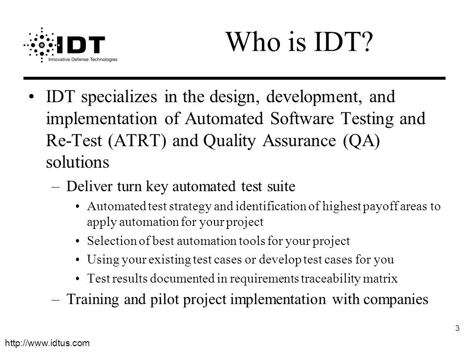 Who is IDT