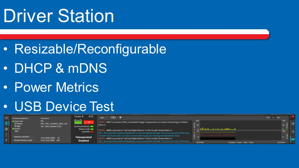 Driver Station Resizable/Reconfigurable DHCP & mDNS Power Metrics