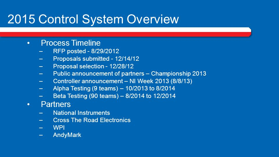 2015 Control System Overview