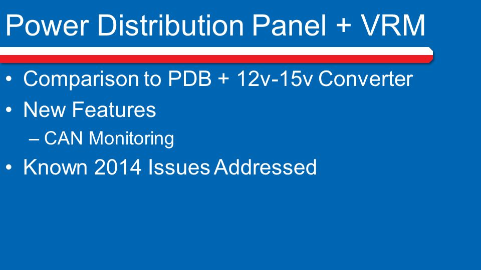 Power Distribution Panel + VRM