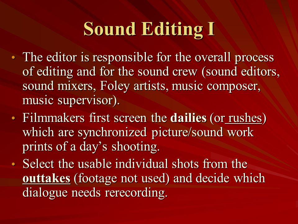 Sound Editing I