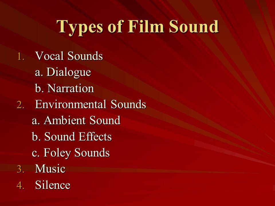 Types of Film Sound Vocal Sounds a. Dialogue b. Narration