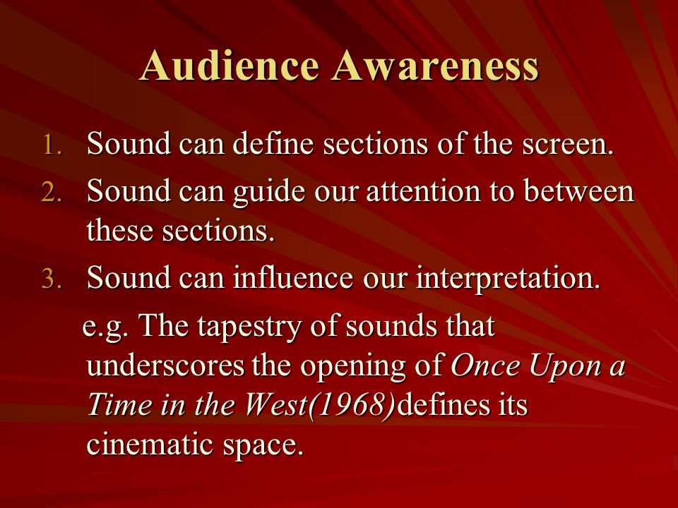 Audience Awareness Sound can define sections of the screen.