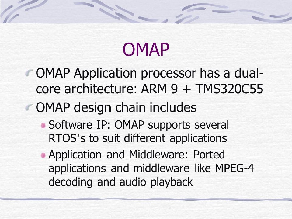 OMAP OMAP Application processor has a dual-core architecture: ARM 9 + TMS320C55. OMAP design chain includes.