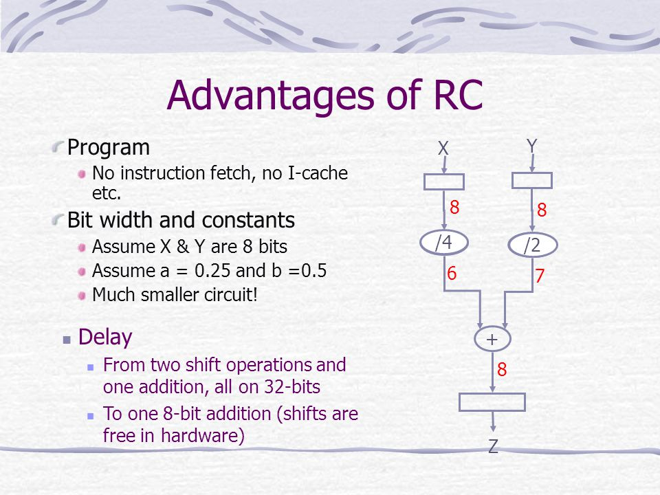 Advantages of RC Program Bit width and constants Delay