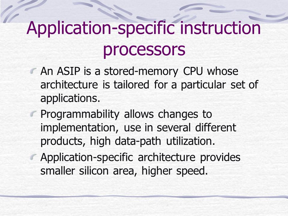 Application-specific instruction processors