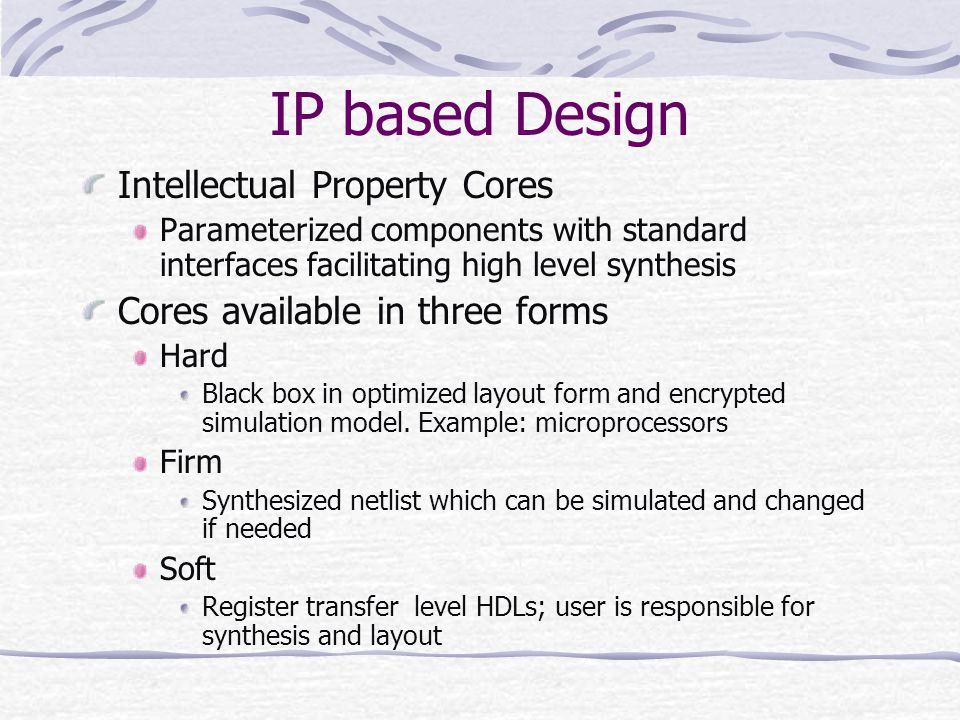 IP based Design Intellectual Property Cores
