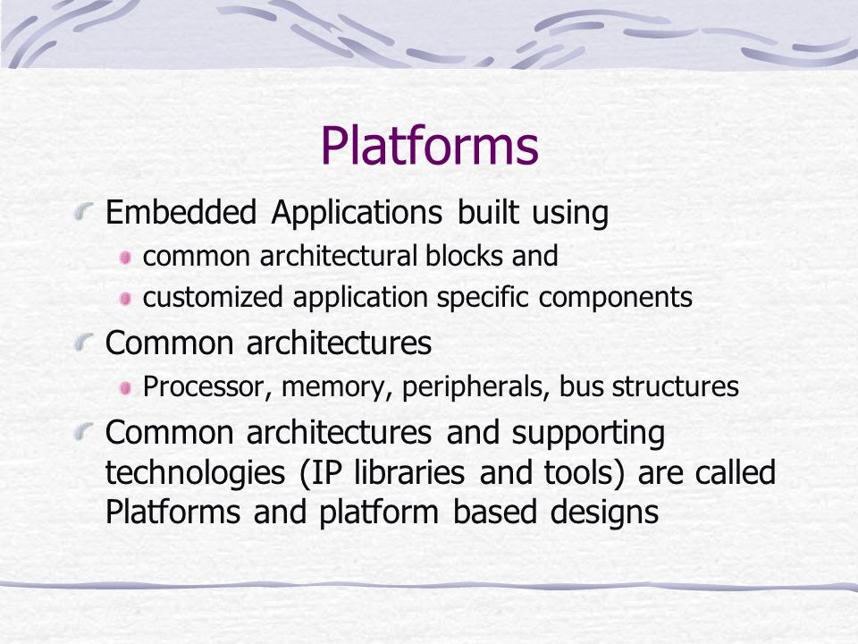 Platforms Embedded Applications built using Common architectures