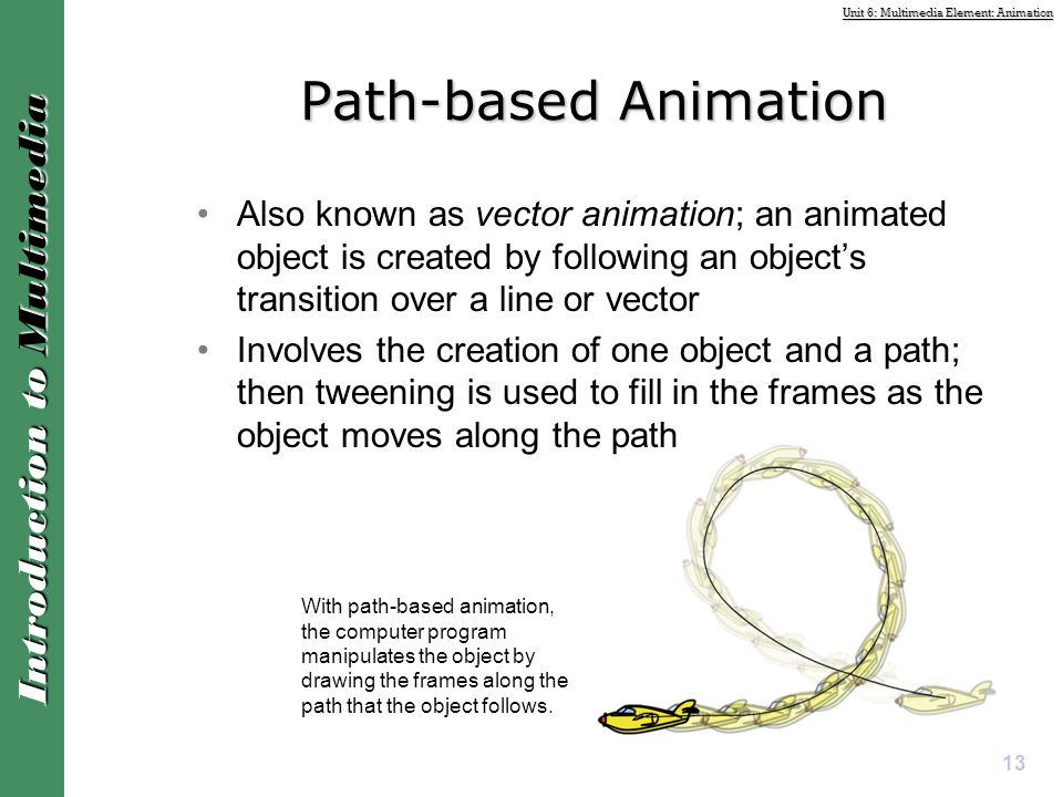 Path-based Animation Also known as vector animation; an animated object is created by following an object's transition over a line or vector.