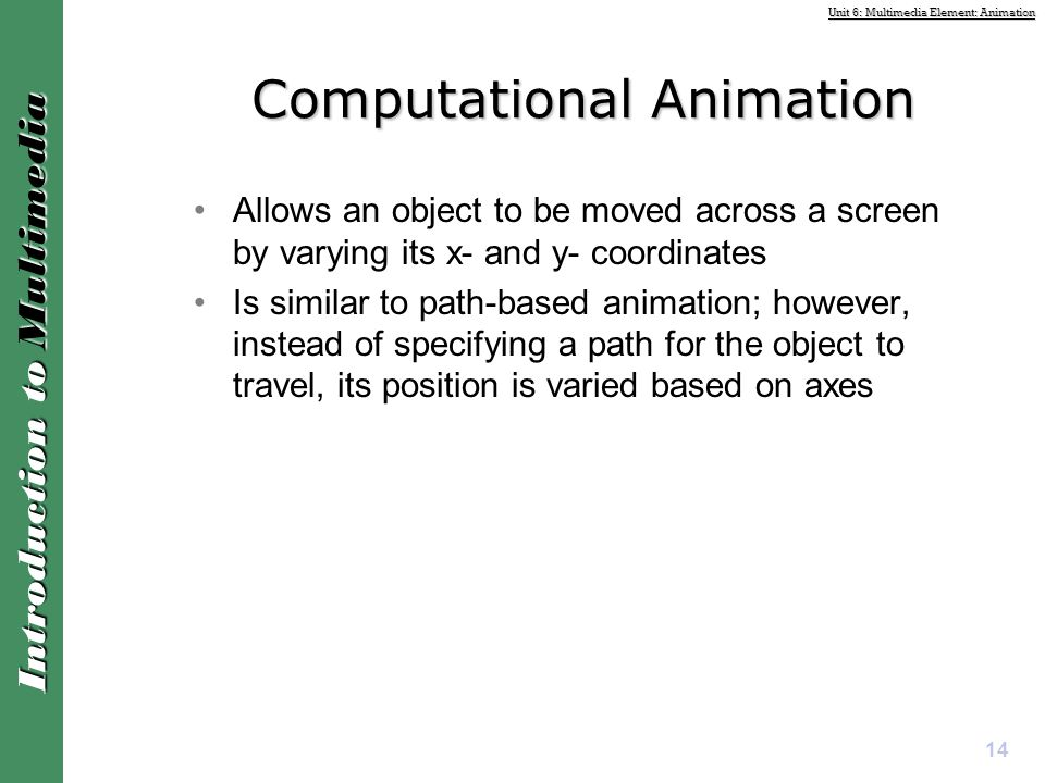Computational Animation