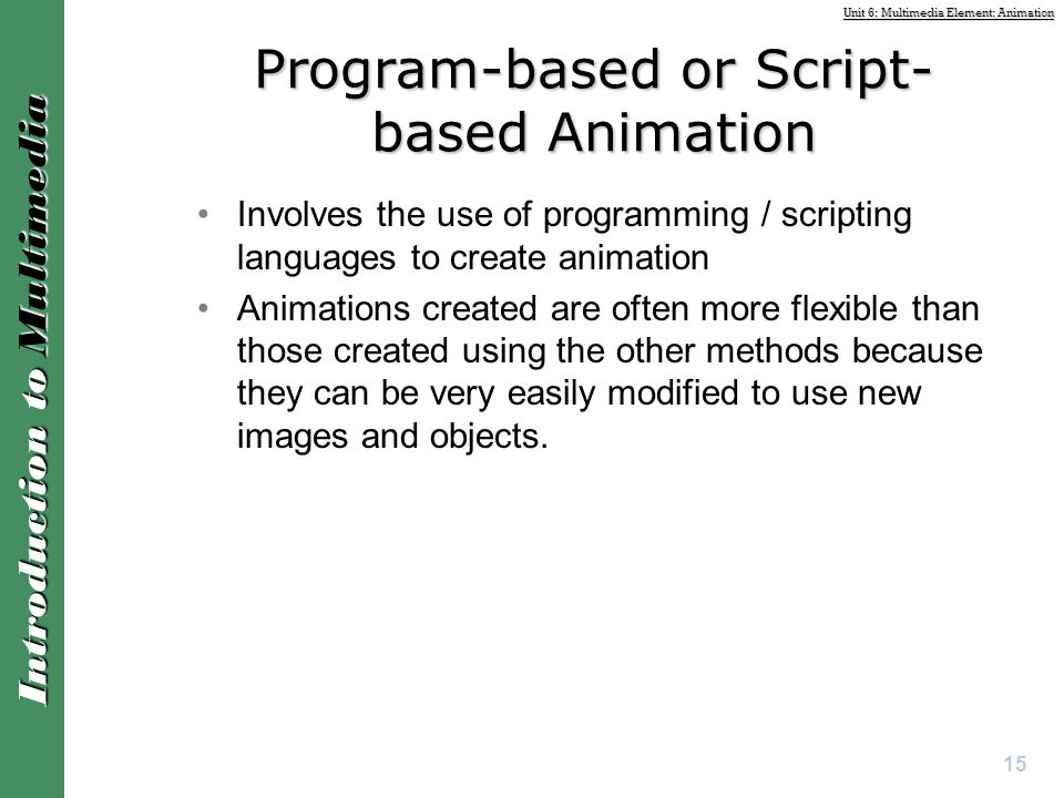Program-based or Script-based Animation