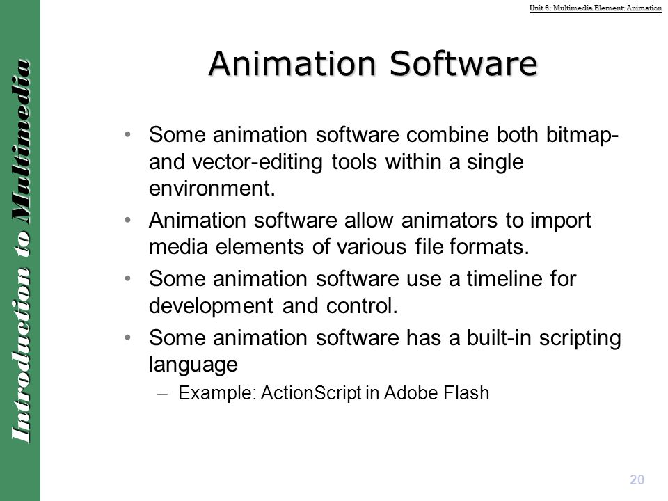 Animation Software Some animation software combine both bitmap- and vector-editing tools within a single environment.
