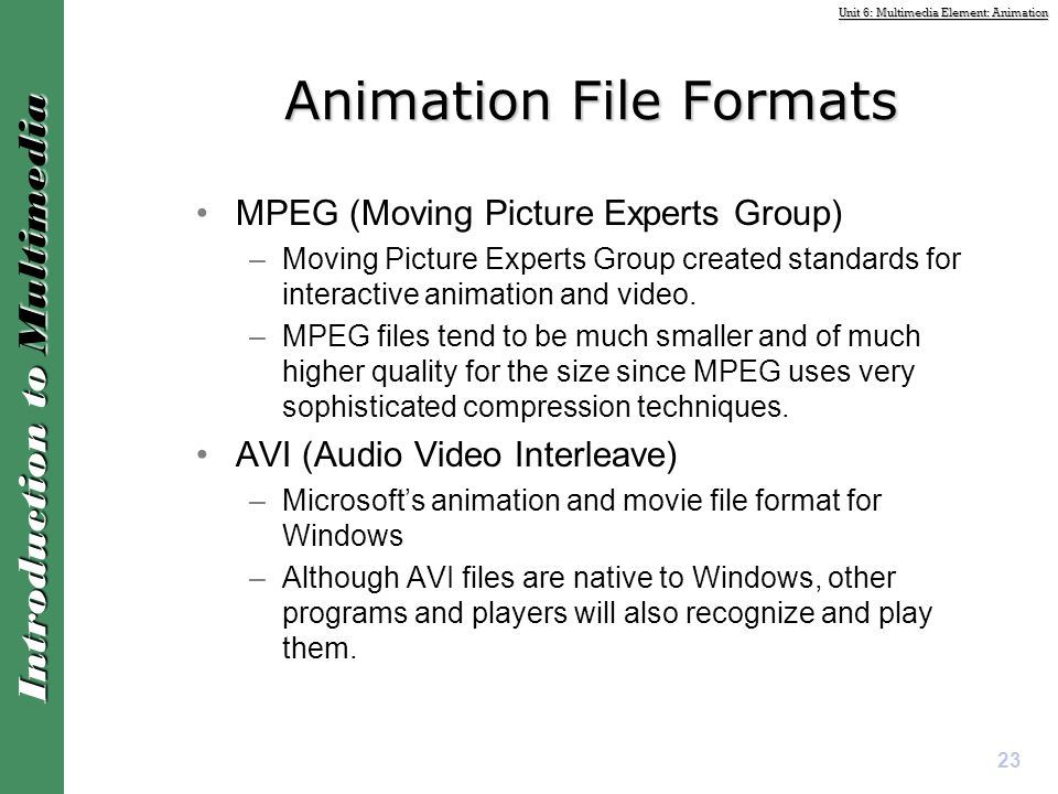 Animation File Formats