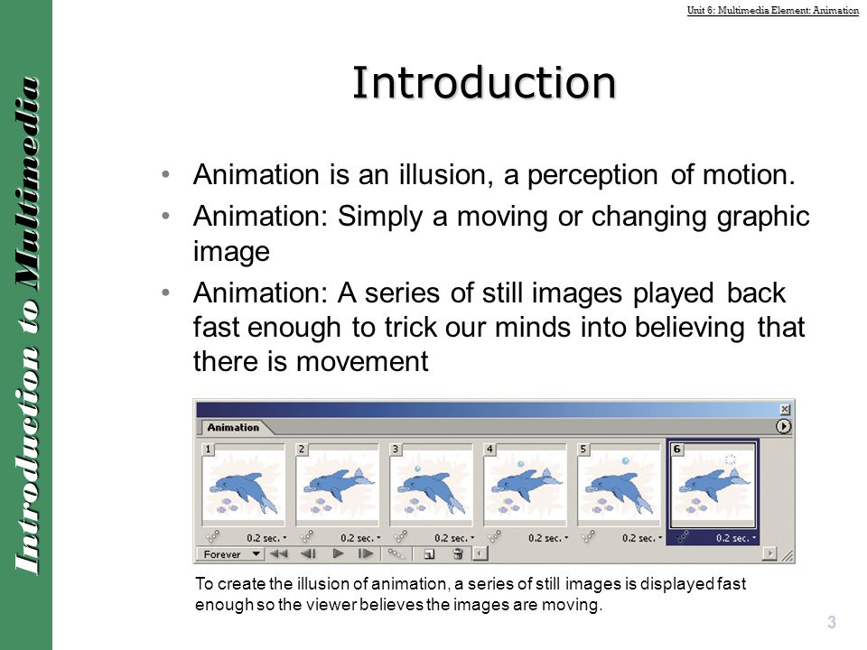 Introduction Animation is an illusion, a perception of motion.