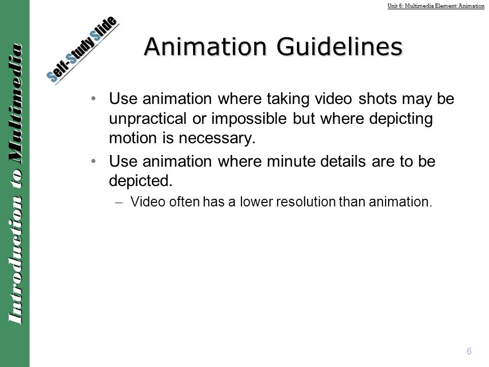 Animation Guidelines Self-Study Slide.