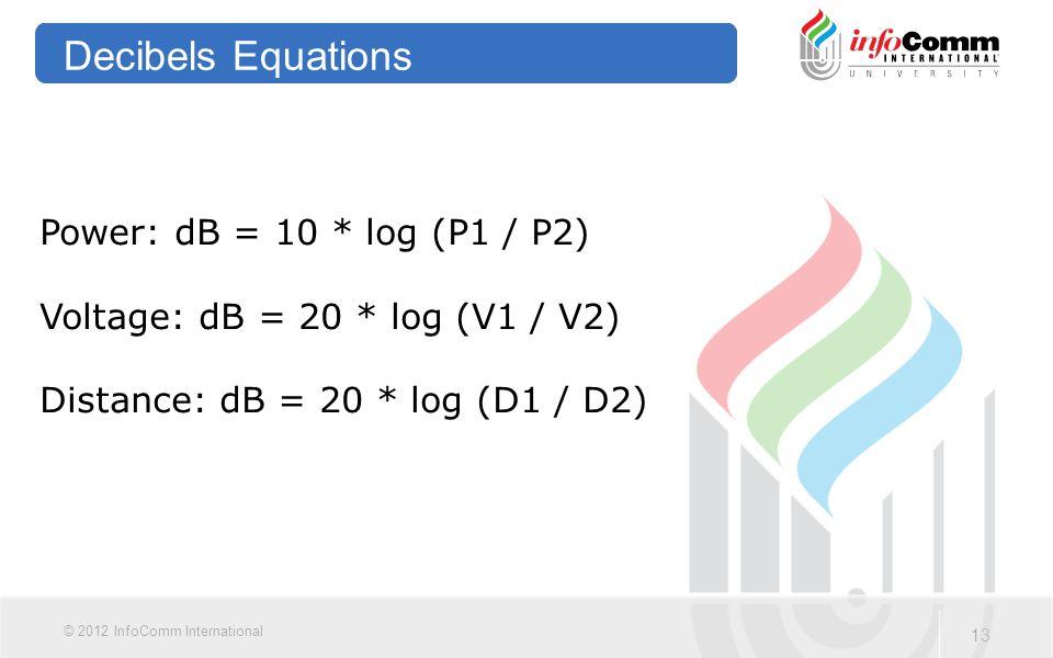Decibels Equations Power: dB = 10 * log (P1 / P2)
