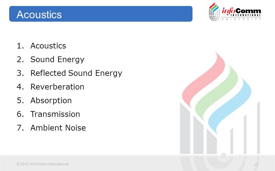 Acoustics Acoustics Sound Energy Reflected Sound Energy Reverberation