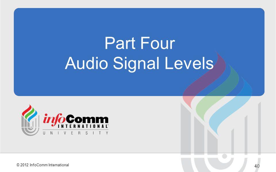 Part Four Audio Signal Levels